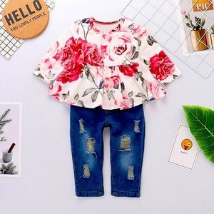 Floral Ruffle L/S Top Distressed Jeans Pink 2 PC